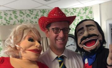 Angusfield House Care Home. A puppet show. Dolly Parton, Bob our Home Manager and Pavarotti