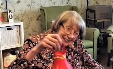 Barbara Elms showing off her Chinese lantern