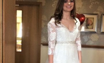 Carer Emily Whiting ready to show of her dress