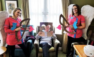 Kingston Care Home, Surrey-Our very own Cupids, Csilla and Marlena with resident Philip