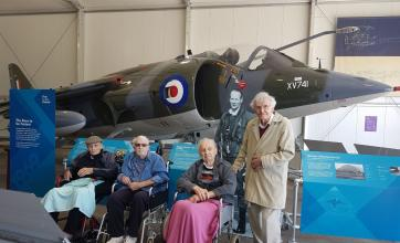 KingstonCare Home, Surrey-Residents John, Michael, Arthur and Philip pictured by the Harrier Jump Jet