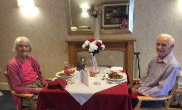Vera and Ken enjoying their romantic anniversary meal together