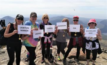 Lawton Manor Care Home. Staffordshire-They did it! Our fantastic climbers Jo Wood, Lydia Stringer, Dale Thomas, Julie Nicholson, Yvonne Seddon, and Jane Byrne at the summit of Mount Snowdon