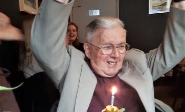 Patrick enjoying his special day as fellow diners sing Happy Birthday to him