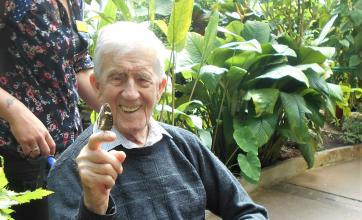 Leeming Bar Grange Care Home, North Yorkshire-Resident Angus was delighted when a butterfly came to rest on his finger