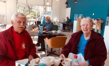 Margaret and Rex enjoying a cuppa at the Winter Gardens