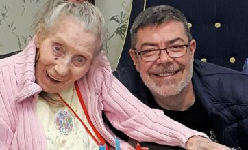 Meyrick Rise Care Home, Bournemouth-Resident Joan with her son Terry celebrating her 91st Birthday