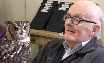 Oakfield Care Home, Bath-Resident Rodney meeting a new feathered friend