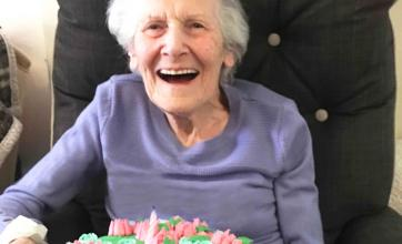 Resident at Houndswood House care home celebrating her brithday