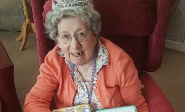 The royal wedding celebrations - Jean with some limited edition shortbread sent by her family