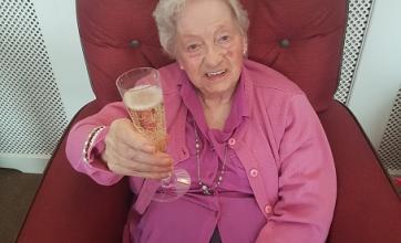 The royal wedding celebrations - Peggy toasting the happy couple!