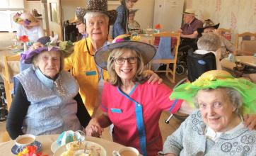 Residents and team at Buchanan Lodge Care Home in Bearsden enjoy an Easter tea party