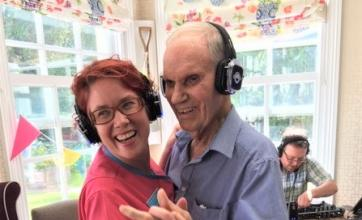 Ross Court Care Home, Herefordshire-Magic Moments Club Coordinator Clare and resident Peter take to the dancefloor at our Silent Disco