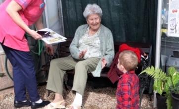 Ross Court Care Home, Herefordshire-Magic Moments Club Coordinator Clare, resident Pam and Arthur at the butterfly zoo