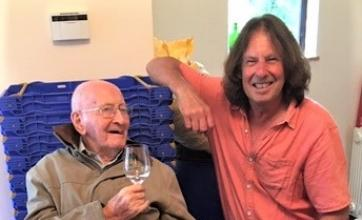 Ross Court Care Home, Herefordshire-Peter toasts Duncan on his delicious gin!