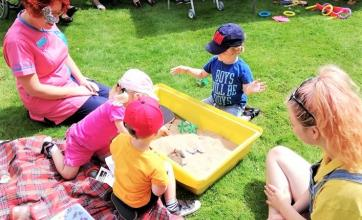 Ross Court Care Home, Herefordshire-Residents enjoying watching the children dig for bugs