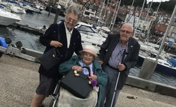 Residents Sheila, Joan and Trevor at the harbour