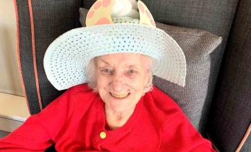 Residents at Clarence Court Care Home in Broomhill make Easter bonnets