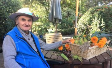 The Berkshire Care Home, Wokingham-Resident Donald is so proud of this year's bumper crop of fruit and vegetables