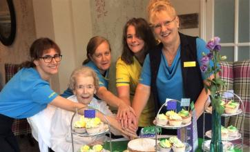 The Berkshire Care Home, Wokingham-Team member Rubina, resident Muriel and team members Lesley, Zoe and Jan ready to welcome guests to our coffee morning for Macmillan Cancer Support