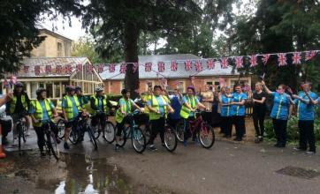 The team from The Cedars get ready to set off on their charity bike ride