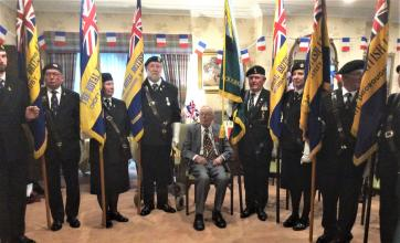 The Lawns Care Home, Leicestershire-Resident Doug surrounded by members of The Royal British Legion and veterans of The Royal Signals