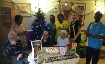 The Care Team singing Happy Birthday to Edwin