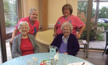 Residents Rena & Marion with Activities Coordinators Suzanne and Linda at Fairfield Cafe