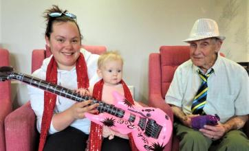 Westbury Court Care Home, Wiltshire-Carer Kelly, her daughter Georgia & resident John rock around the clock!