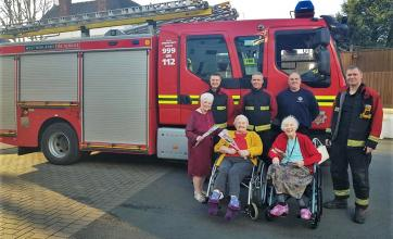Dudley Fire Service pays a surprise visit to Broadway Halls Care Home for Valentine's Day