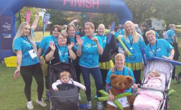 Tewkesbury Fields Care Home's committed Team Members unite for Alzheimer's Memory Walk - The team at the finish with their medals
