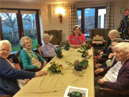 Crabwall Hall Care Home enjoy some festive flower arranging