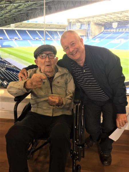 Broadway Halls Care Home, Dudley-Resident Cyril and his son Paul take a trip down memory lane inside West Brom's stadium
