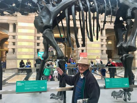 Buchanan House Care Home, Glasgow-A delighted Christopher meets Dippy the dinosaur