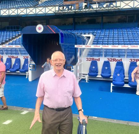 Buchanan House Care Home, Glasgow-Resident Alec emerges from the tunnel at Ibrox