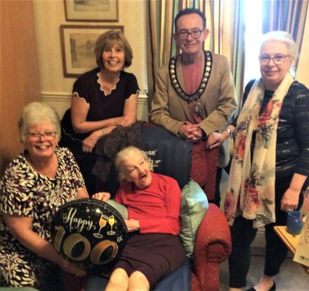The Cedars Care Home, Bourne-Resident Barbara celebrates her 100th birthday with her daughters Moira, Nora and Barbara and The Mayor of Bourne, David Mapp