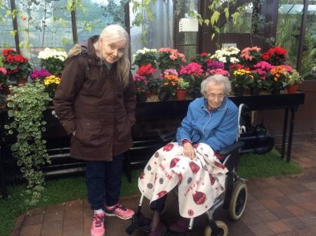 Residents Violet and Ann enjoying their trip to Glasgow Botanical Gardens