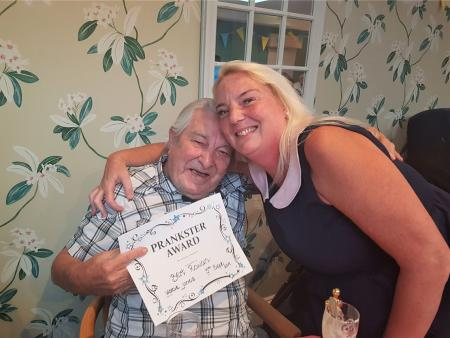 Glebefields Care Home, Banbury-Our resident prankster Bert with Home Manager Katie