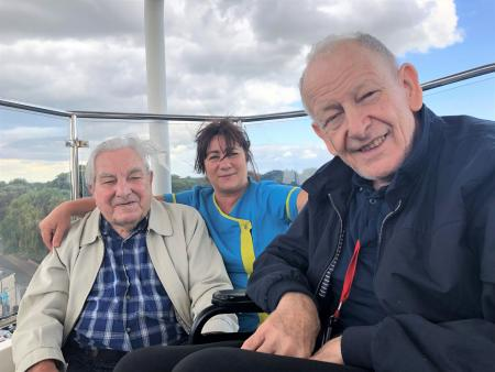 Glebefields Care Home, Banbury-Up up and away! Residents Bert and Alvar with Carer Julie on Stratford's Big Wheel