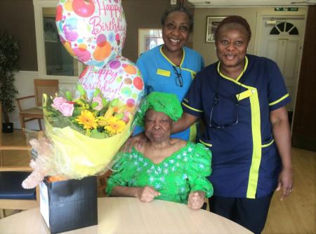 Celebrating a milestone birthday at Uplands Care Home in Streatham