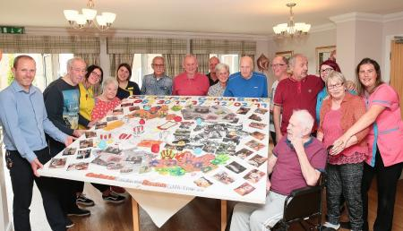 Lawton Rise Care Home, Stoke-on-Trent-Our Lawton Rise family with members of Stoke City FC holding our tribute to the late, great, Gordon Banks OBE