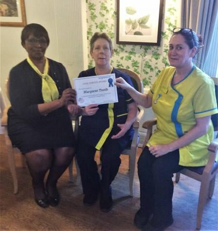 Celebrating Maggie's 15 years' service at Tewkesbury Fields Care Home