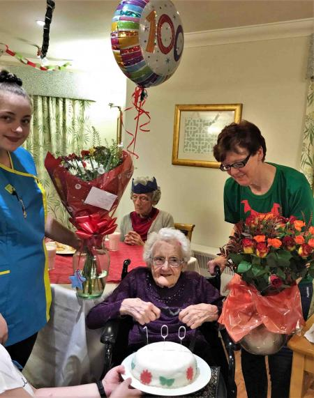 Gladys celebrates a very festive 100th birthday at Scarborough Hall Care Home
