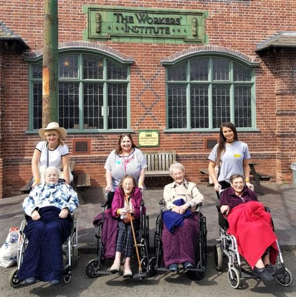 Broadway Halls Care Home, Dudley- Residents Shirley, Doreen, Rebecca and Mollie with Magic Moments Club team members Kerry, Lil, and Julie at The Black Country Living Museum
