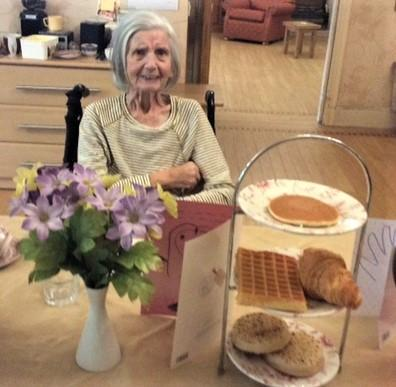 Henleigh Hall Care Home, Sheffield-Pat enjoying our Mother's Day breakfast