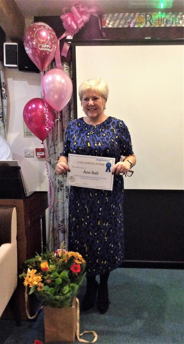 Ann with her 20 years long service certificate