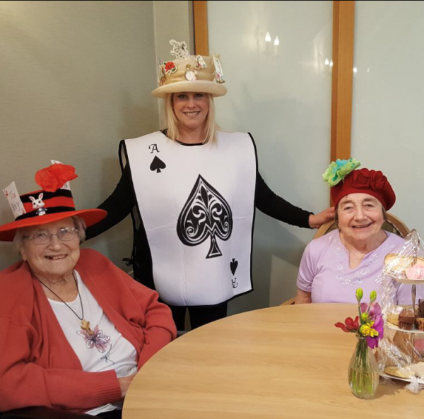 Left to right - Peggy Straddling (resident), Nina Mullerworth (activity coordinator) and Elizabeth Wilson (resident)