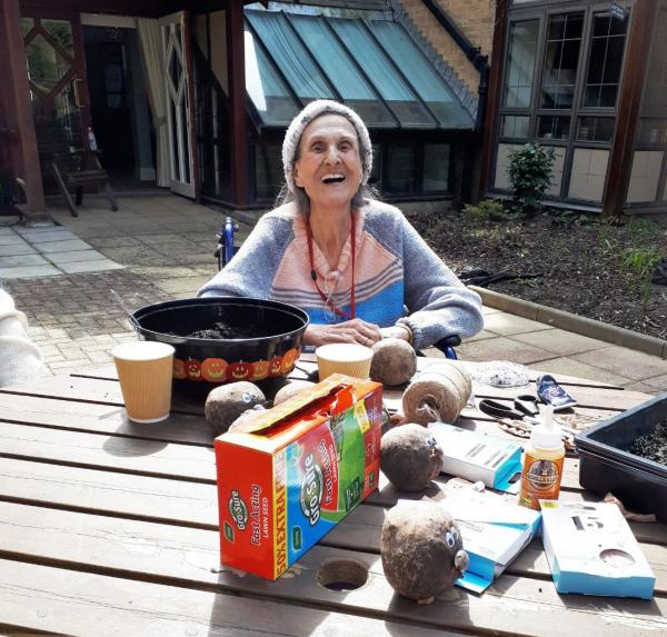 Residents at Meyrick Rise Care Home get stuck into gardening and crafts fro Naturewatch
