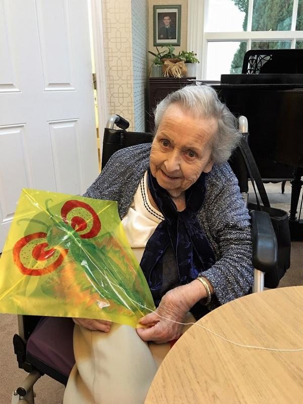 Resident Phyllis with her beautiful butterfly kite