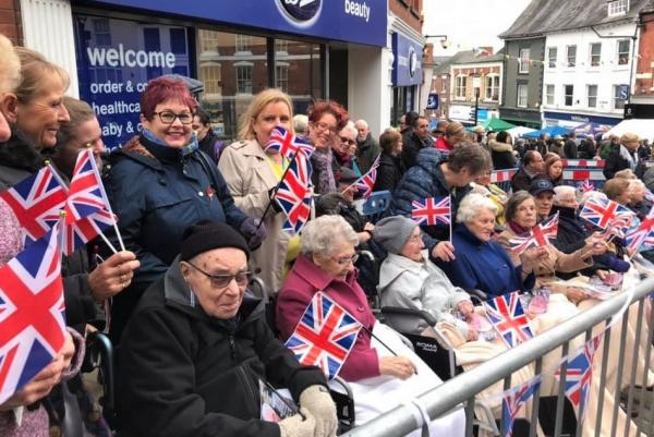 Ross Court Care Home, Herefordshire-Waving our flags to welcome HRH Prince Charles to town